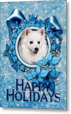 Christmas - Blue Snowflakes American Eskimo Metal Print by Renae Laughner