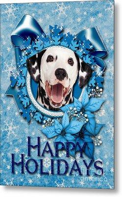Christmas - Blue Snowflakes Dalmatian Metal Print by Renae Laughner