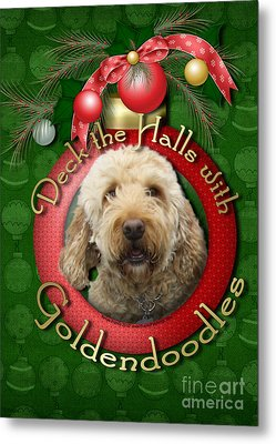Christmas - Deck The Halls With Goldendoodles Metal Print by Renae Laughner