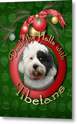 Christmas - Deck The Halls With Tibetans Metal Print by Renae Laughner