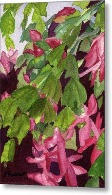 Metal Print featuring the painting Christmas Cactus by Lynne Reichhart