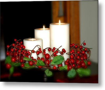 Christmas Candles Metal Print by Kathy Gibbons