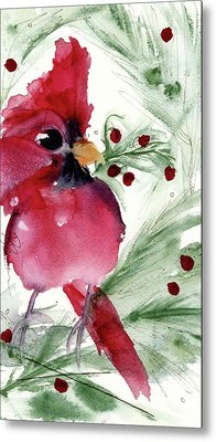 Metal Print featuring the painting Christmas Cardinal by Dawn Derman