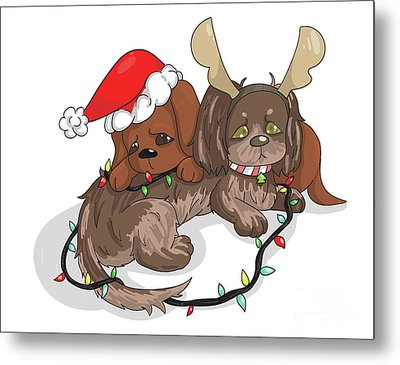 Christmas Dachshund Metal Print by Veronica Ely