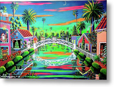 Christmas Eve On Retro Canal Metal Print by Frank Strasser