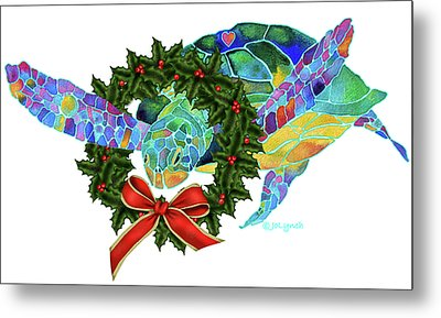 Christmas Holiday Sea Turtle Metal Print by Jo Lynch