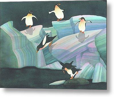 Christmas Penguins Metal Print by Anne Havard