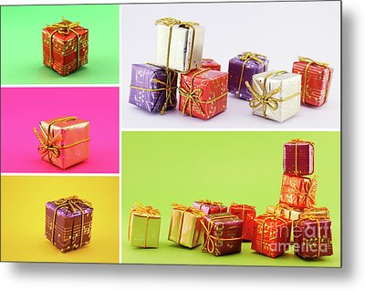 Christmas Poster With A Set Of Gifts Metal Print