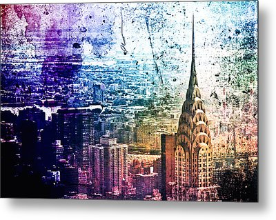 Chrysler Building - Colorful - New York City Metal Print by Vivienne Gucwa