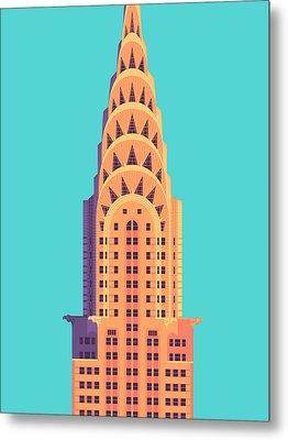 Chrysler Building - Cyan Metal Print