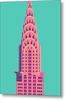 Chrysler Building - Green Metal Print