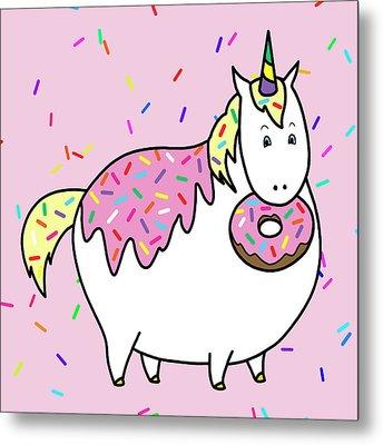 Chubby Unicorn Eating Sprinkle Doughnut Metal Print