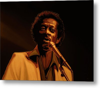 Chuck Berry Gold Metal Print by Paul Meijering