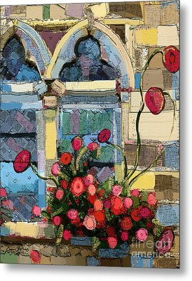 Metal Print featuring the painting Church Window by Carrie Joy Byrnes