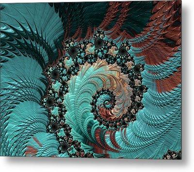 Metal Print featuring the digital art Churning Sea Fractal by Bonnie Bruno