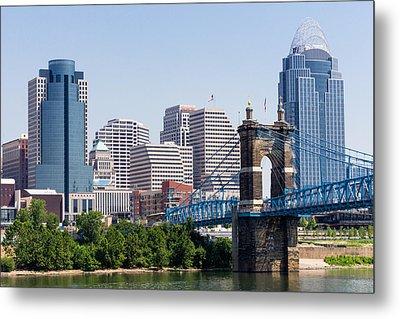 Cincinnati Skyline And John Roebling Bridge Metal Print by Paul Velgos