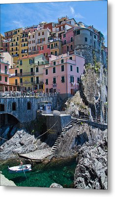 Cinque Terre Harbor And Town Metal Print by Roger Mullenhour