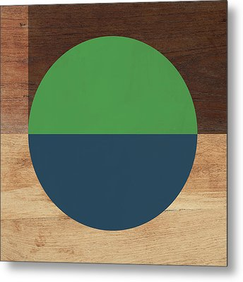 Cirkel Blue And Green- Art By Linda Woods Metal Print by Linda Woods