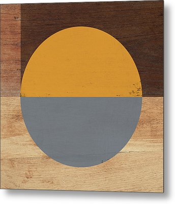 Cirkel Yellow And Grey- Art By Linda Woods Metal Print by Linda Woods