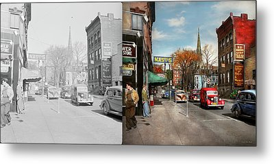 City - Amsterdam Ny - Downtown Amsterdam 1941- Side By Side Metal Print by Mike Savad