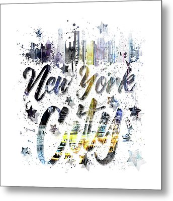 City Art Nyc Collage - Typography Metal Print