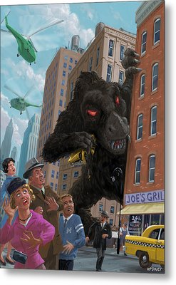 Metal Print featuring the digital art City Invasion Furry Monster by Martin Davey