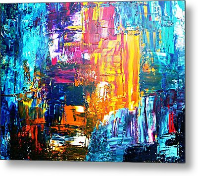 Metal Print featuring the painting City Life by Piety Dsilva