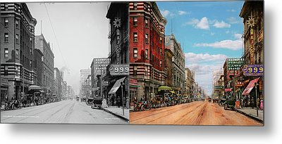 City - Memphis Tn - Main Street Mall 1909 - Side By Side Metal Print by Mike Savad