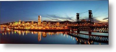 City Of Portland Skyline Blue Hour Panorama Metal Print by David Gn