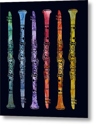 Clarinet Rainbow Metal Print