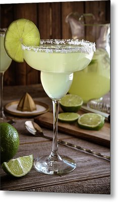 Metal Print featuring the photograph Classic Lime Margaritas On The Rocks by Teri Virbickis