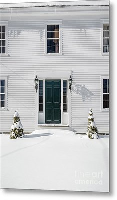 Classic New England Wood Framed Colonial Home In Winter Metal Print by Edward Fielding