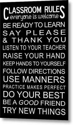 Classroom Rules Poster Metal Print