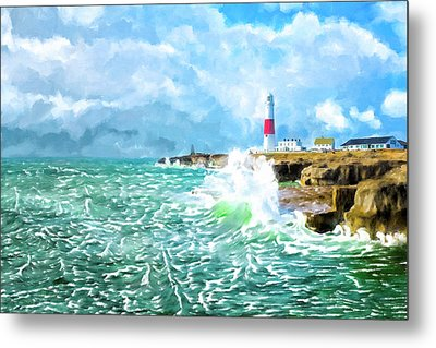 Metal Print featuring the mixed media Clearing Storm - Portland Bill Lighthouse by Mark Tisdale