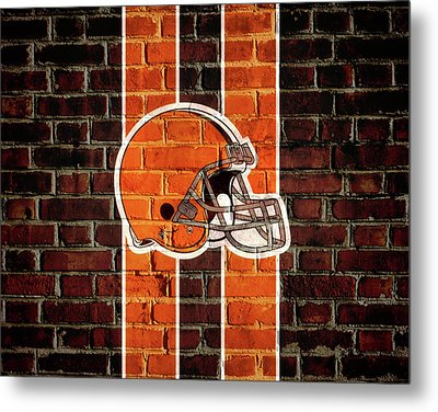 Cleveland Browns Brick Wall Metal Print by Dan Sproul