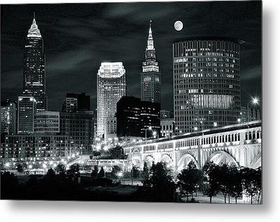 Cleveland Iconic Night Lights Metal Print by Frozen in Time Fine Art Photography