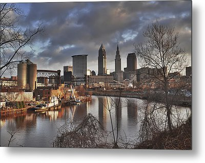 Cleveland Skyline From The River - Morning Light Metal Print by At Lands End Photography