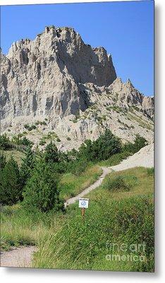 Cliff Shelf Trail In Badlands National Park South Dakota Metal Print by Louise Heusinkveld