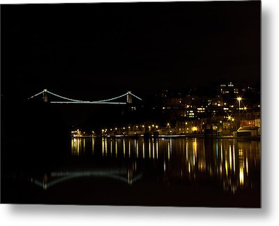 Clifton Suspension Bridge At Night Metal Print by Brian Roscorla