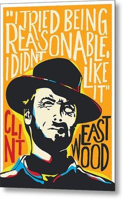 Clint Eastwood Pop Art Portrait Metal Print