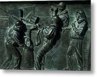 Close View Of Bronze Relief Sculpture Metal Print by Todd Gipstein