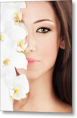 Closeup On Beautiful Face With Flowers Metal Print