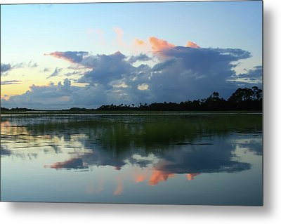 Clouds Over Marsh Metal Print