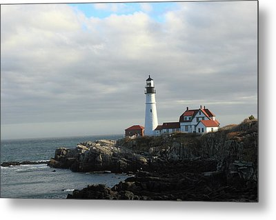 Clouds Over Portland Head Lighthouse 2 Metal Print by Lou Ford