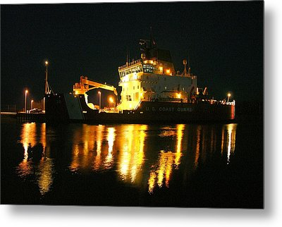 Coast Guard Cutter Mackinaw At Night Metal Print by Keith Stokes