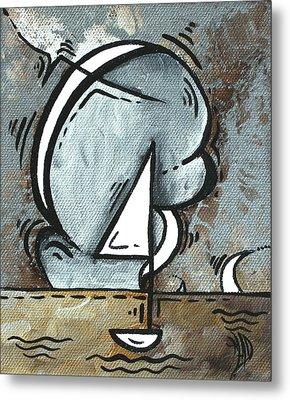 Coastal Art Contemporary Sailboat Painting Whimsical Design Silver Sea I By Madart Metal Print by Megan Duncanson