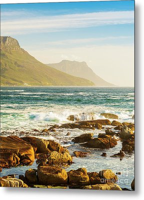 Coastal Rocks And Mountains Metal Print by Tim Hester