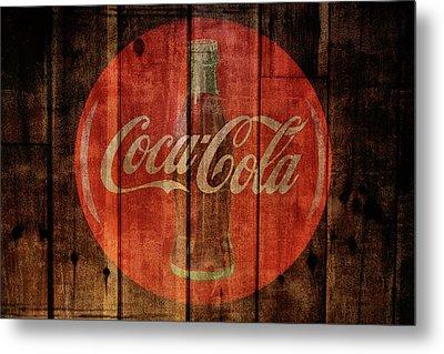 Coca Cola Old Grunge Wood Metal Print