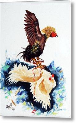 Cock Fighting Metal Print
