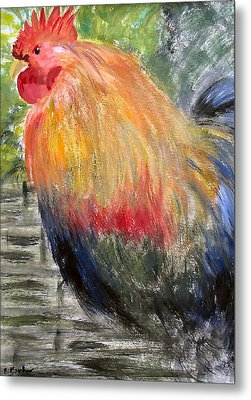 Metal Print featuring the painting Cockerel by Barbara Giordano